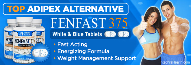 Best Adipex Alternative: FENFAST 375 Fast acting energizing formula - white and blue tablets